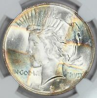 1923-P PEACE DOLLAR NGC MINT STATE 65 STAR WORLD CLASS COLORFUL CROSS TAB PATTERN 1O
