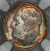 1957-D ROOSEVELT DIME NGC MINT STATE 67 SUPREME RAINBOW TONED COLORFUL TONING 4F
