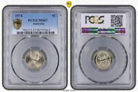 1974 AUSTRALIA 5 CENTS PCGS MINT STATE 67 SHINNY WHITE COIN  SOUGHT AFTER YEAR