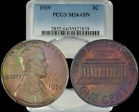 1959 LINCOLN MEMORIAL CENT PCGS MINT STATE 64 BN GREEN/PURPLE TONED