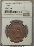 UK 1860/59 COPPER PENNY NGC MS63 THE ST VICTORIAN PENNY