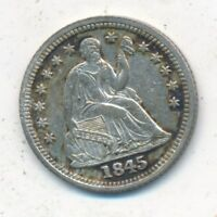 1845 SEATED LIBERTY SILVER HALF DIME-EXCELLENT LIGHTLY CIRCULATED-SHIPS FREE