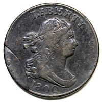 1800 C-1 R-2 DBL STRUCK DRAPED BUST HALF CENT COIN 1/2C