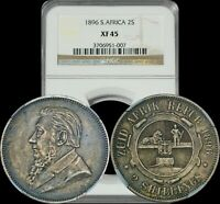 1896 SOUTH AFRICA 2 SHILLINGS NGC EXTRA FINE 45 SUBTLE LIGHT BLUE TONED COIN