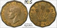 1941 GREAT BRITAIN THREE PENCE PCGS AU58 KEY DATE ONLY 5 GRADED HIGHER
