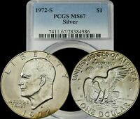 1972 S EISENHOWER SILVER DOLLAR PCGS MINT STATE 67 LIGHT YELLOW/BROWN TONED IKE