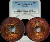 1959 NIGERIA PENNY PCGS MINT STATE 66RB LIGHTLY RED/YELLOW TONED COIN
