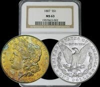 1887 MORGAN SILVER DOLLAR NGC MINT STATE 63 PREFERRED YEAR & COLOR TONING