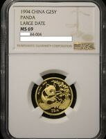 1994 LARGE DATE CHINA PANDA GOLD 1/4 OZ G25Y  - NGC MINT STATE 69/NCS CONSERVED