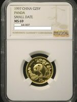 1997 SMALL DATE FROSTED LEG GAP CHINA PANDA GOLD 1/4 OZ G25Y  - NGC MINT STATE 69/NCS