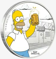 2019 1 OZ SILVER TUVALU $1 HOMER SIMPSONS COIN.