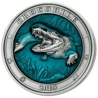 2019 BARBADOS $5 UNDERWATER WORLD CROCODILE 3 OZ SILVER COIN