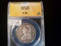 1836  CAPPED BUST HALF DOLLAR ANACS F 15 5343909