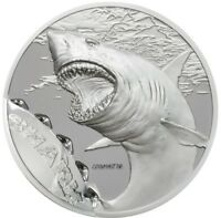 2017 1 OZ SILVER PALAU SHARK BOOKMARKS COIN BOX AND COA.