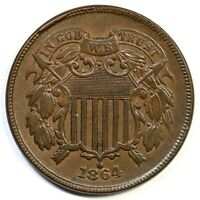 1864 LARGE MOTTO TWO CENT PIECE COIN 2C