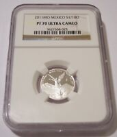 NGC MEXICO 2011 MO 1/10 OUNCE SILVER LIBERTAD PROOF PF70 UC LOW MINTAGE