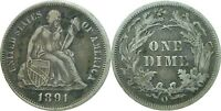 1891-O 10C SEATED LIBERTY DIME  FINE  DETAILS