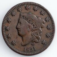 1831 LARGE CENT FINE CONDITION, BROWN COLOR,  DETAIL FOR GRADE