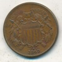 1869 TWO CENT 2 CENT PIECE-