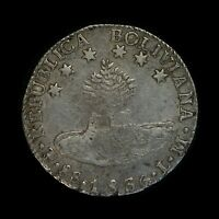 BOLIVIA 1836 LM 8 SOLES   SILVER WORLD COIN