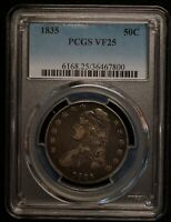 1835 USA CAPPED BUST HALF DOLLAR PCGS GRADED VF25    WORLD SILVER COIN