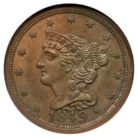 1849 C-1 NGC MINT STATE 63 BN LG DATE BRAIDED HAIR HALF CENT COIN 1/2C