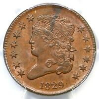 1829 C-1 PCGS MINT STATE 62 BN CLASSIC HEAD HALF CENT COIN 1/2C