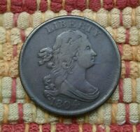 1804 DRAPED BUST HALF CENT, VF    SPIKED CHIN VARIETY
