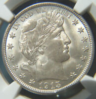1915 D BARBER SILVER HALF DOLLAR UNCIRCULATED MINT STATE 63 NGC