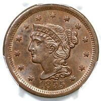 1855 N-4 R-1 PCGS MINT STATE 64 BN UPRIGHT 55 BRAIDED HAIR LARGE CENT COIN 1C