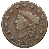 1821 MATRON OR CORONET HEAD LARGE CENT COIN 1C