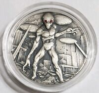 2018 2 OZ SILVER ALIEN INVASION ANTIQUE FINISH COIN WITH SWA