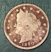 EARLY YEAR 1890 V- NICKEL BUY IT NOW
