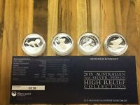 2015 AUSTRALIAN 1 OZ SILVER PROOF HIGH RELIEF 4 COIN COLLECT
