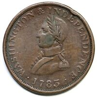 1783 SMALL MILITARY BUST WASHINGTON COLONIAL COPPER COIN
