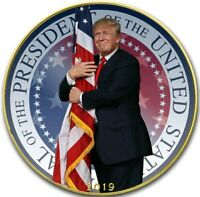2019 1 OZ SILVER $1 TRUMP EMBRACING AMERICA EAGLE COIN WITH