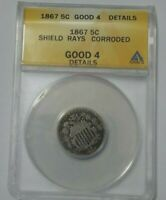 1867 5C ANACS GOOD 4 DETAILS SHIELD RAYS NICKEL UNITED STATES OF AMERICA
