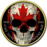 2019 1 OZ SILVER $5 CANADIAN FLAG SKULL MAPLE LEAF COIN WITH