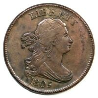 1805 C-1 R-2- SMALL 5, NO STEMS DRAPED BUST HALF CENT COIN 1/2C