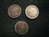 CANADA LOT OF 3 NICE 5 CENTS SILVER CIRCULATED COINS EDWARD