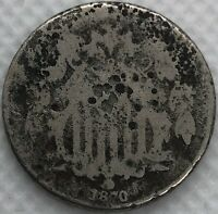 1870 US 5 CENT SHIELD NICKEL CIRCULATED COIN