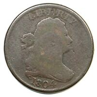 1804 C-7 R-4 MANLEY 7.0 SPIKED CHIN DRAPED BUST HALF CENT COIN 1/2C