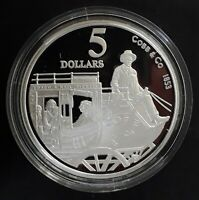 1995 AUSTRALIA  COBB & CO. 1 OZ SILVER  .925  PROOF $5 COIN