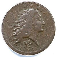 1793 S 9   R2 ANACS F 12 DETAILS WREATH LARGE CENT COIN 1C