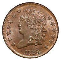 1829 C-1 NGC MINT STATE 65 BN CLASSIC HEAD HALF CENT COIN 1/2C