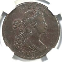 1803 S-250 R-3 NGC EXTRA FINE  40 SM DATE SM FRAC DRAPED BUST LARGE CENT COIN 1C