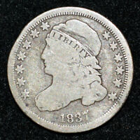 A 1837 CAPPED BUST DIME JR-2 R3 GOOD ORIG TONING BETTER VARIETY