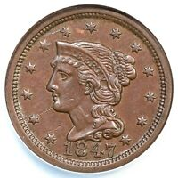 1847 N-6 NCS AU DETAILS BRAIDED HAIR LARGE CENT COIN 1C