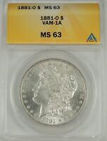 1881-O $1 MORGAN SILVER DOLLAR VAM-1A ANACS MINT STATE 63 5002256 GREAT SURFACES