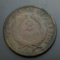 USA 2 CENTS 1869. KM94. TWO PENNIES COIN.